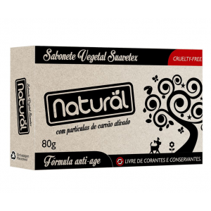 SABONETE BARRA C/PART DE CARVÃO ATIVADO 80G-NATURAL SUAVETEX