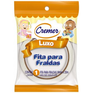 FITA ADESIVA PARA FRALDA BRANCA 19MMX20M - CREMER.