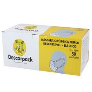 MASCARA DESCARTAVEL TRIPLA C/ ELASTICO C/50 - DESCARPACK.